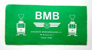 Sammler-Aufkleber Bmb Bergische Museumsbahnen E. V.56 Wuppertal 1 60er 70er