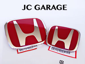 Image Is Loading JDM RED FRONT REAR EMBLEM BADGE FOR HONDA