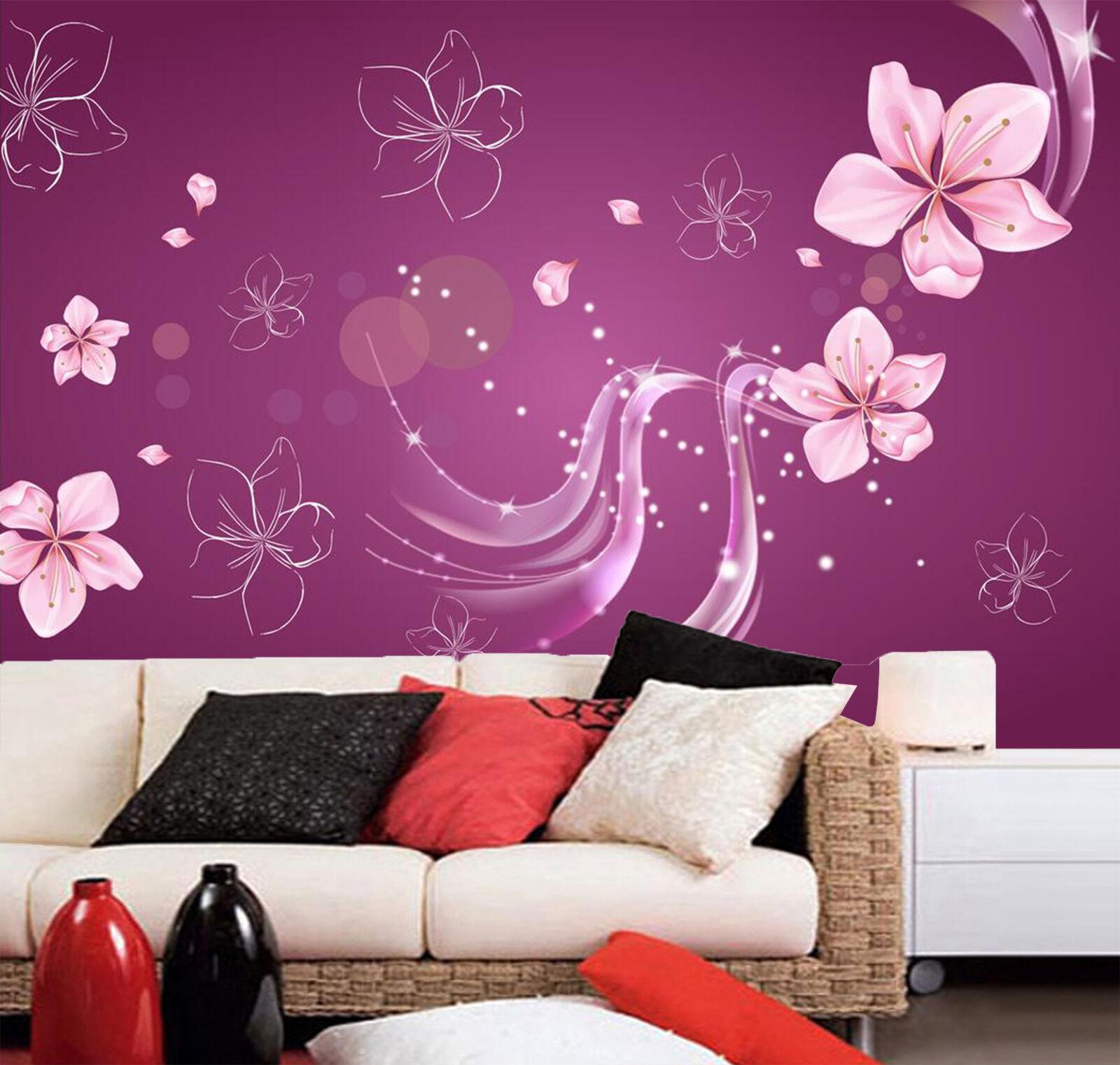 3D Lila Blüten, Farbe 634 Fototapeten Wandbild Fototapete BildTapete Familie