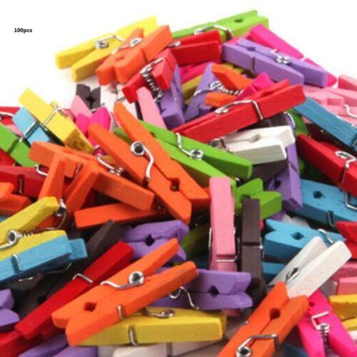100Pcs Mini Pegs Mixed Colour Small Wooden Peg Clip Clamp Wood Wedding Decor