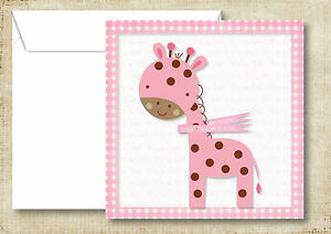 Pink Baby Girl Thank You Personalised Jungle Animals Birth Announcement Cards