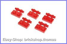 Lego 5 x Platten mit Griff (1 x 2) rot - 2540 - Plate with Handle red - NEU/NEW
