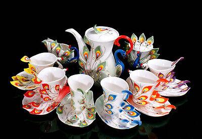 21PCS Ceramic 6 Color Peacock Coffee Set GreenPot/Cup/G Creamer/Saucer/Spoon