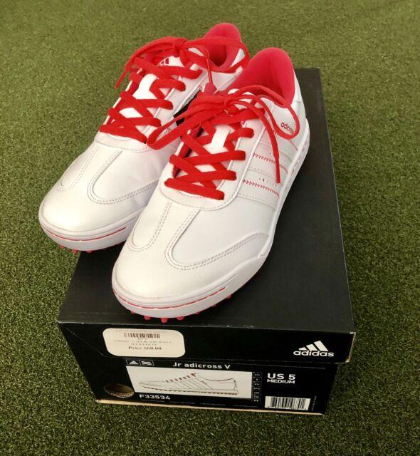 Youth adidas Junior Adicross V Golf Shoes F33534 White / Pink Sz 5 M