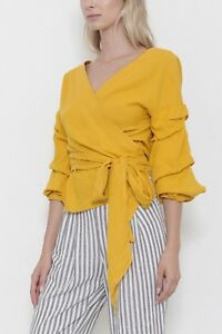 NWT-Mustard-Yellow-Wrap-Front-Ruffled-Sleeve-Tunic-Misses-S-M-L