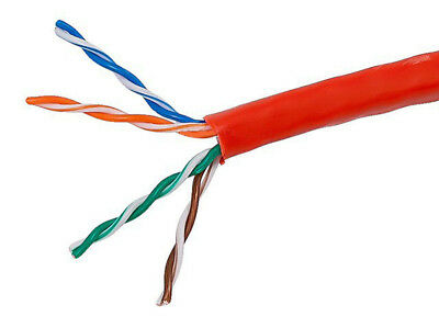 UbiGear 1000 Ft Bulk Cat5e 24 AWG UTP Twist Pair Solid Network Ethernet Cable Red