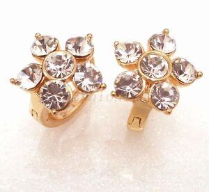 Image Is Loading Fashion1uk Simulated Diamond Sparkly Flower 18k Yellow Gold