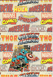 MARVEL RETRO VINTAGE SUPERHERO 2 SHEETS AND 2 GIFT TAGS GIFT WRAP WRAPPING PAPER