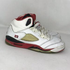 Nike-Boys-Air-Jordan-V-Retro-134092-162-White-Red-Black-Sneakers-Shoes-Size-7-Y