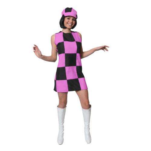 ADULTS 1960S PARTY GIRL DRESS HIPPY COSTUME 60S RETRO LADIES FANCY DRESS