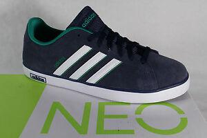 Adidas Scarpe con lacci sneakers da ginnastica basse Derby Vulc Pelle Blu NUOVO