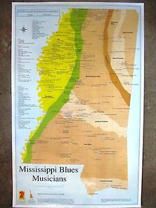 mississippi blues musicians birthplace map poster free ms blues