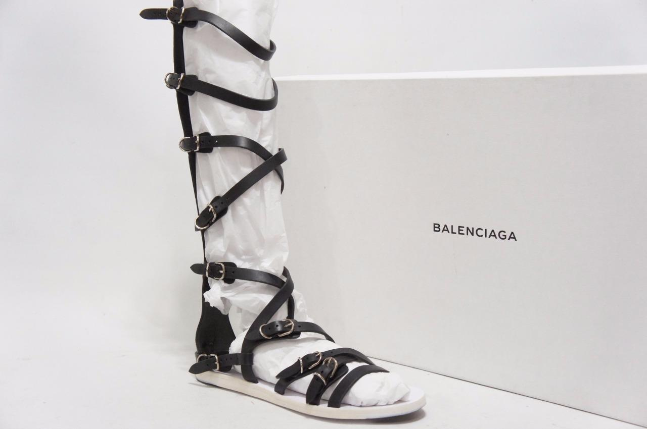 BALENCIAGA GLADIATORS BLACK LEATHER SANDALS BOOTS SHOES 37 6.5   1195