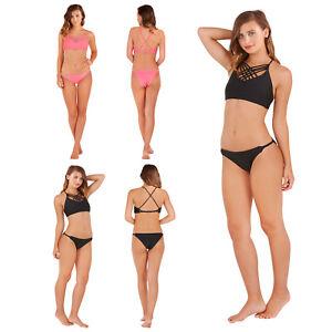 e4d259cc2279a4 Boutique Womens Crop Top Bikini Set Ladies Criss Cross High Neck ...