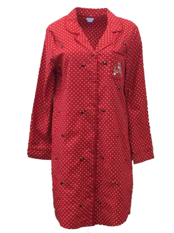 Laura Scott Womens Red Polka Dot Flannel Nightgown Scottie Dog Sleep Shirt