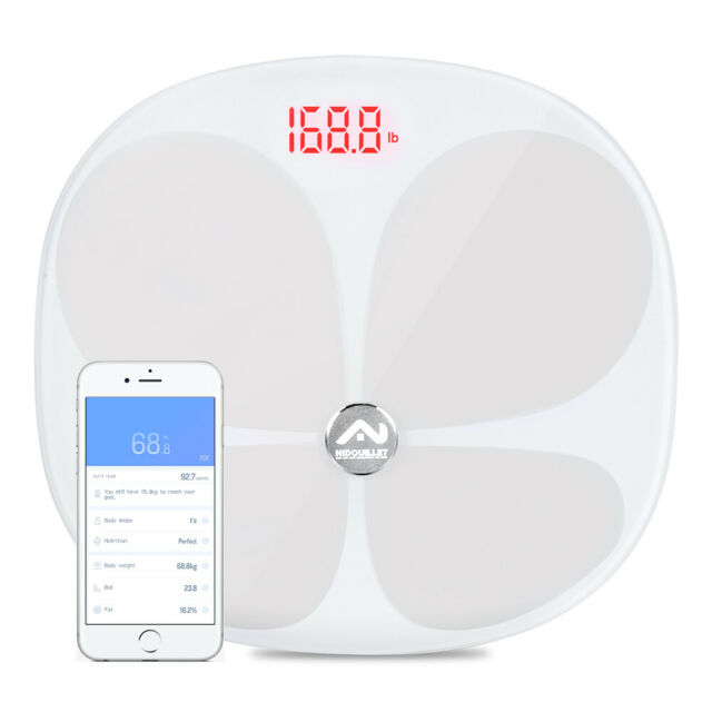 Bluetooth Body Fat Scale Smart BMI Scale Digital Bathroom Wireless- White AB069