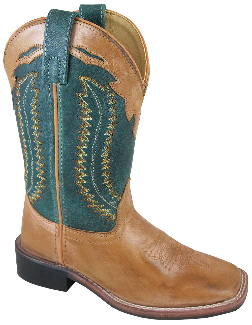 Smoky Mountain  ldrens  Clint Western Cowboy Boots Leather Square Toe Tan Green  popular