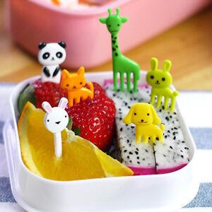 10pcs kids child cartoon animal food fruit pick fork bento lunch box decoration. Black Bedroom Furniture Sets. Home Design Ideas