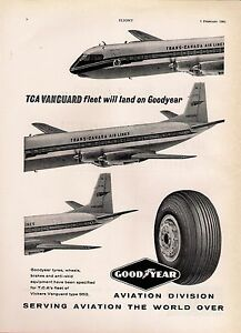 Magazine Advert  Goodyear Tyres  Trans Canada Airlines Vickers Vanguard 1961 - <span itemprop='availableAtOrFrom'>Birmingham, United Kingdom</span> - Magazine Advert  Goodyear Tyres  Trans Canada Airlines Vickers Vanguard 1961 - Birmingham, United Kingdom