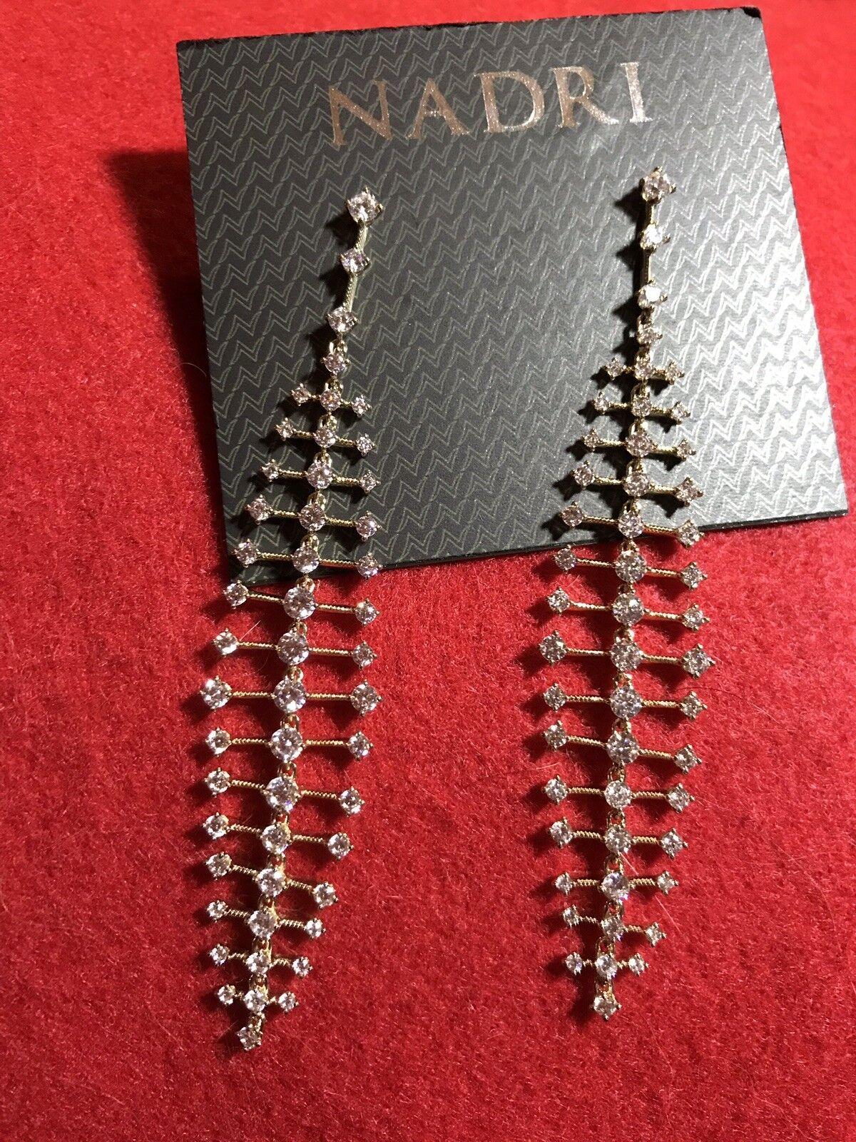 Nadri gold Rhodium Plated Cubic Dangle Earrings  135