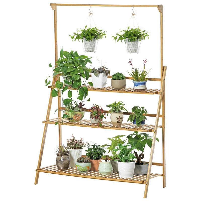 BAMBOO SHELF FOLDING 3 TIER LADDER BOOK PLANT STAND WITH HANGING BAR MULTI USE
