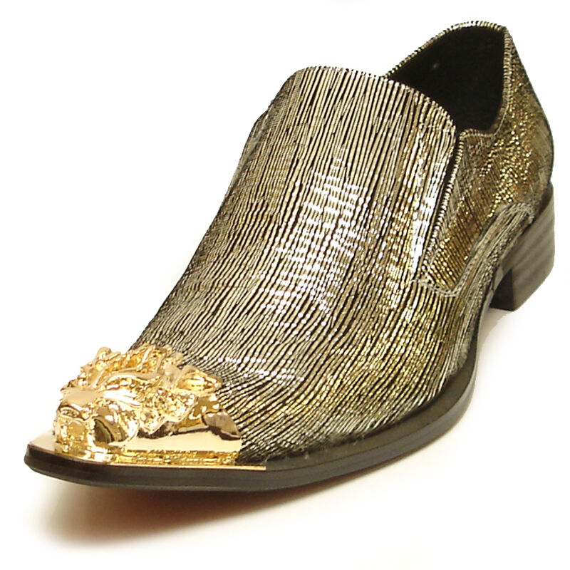 FI-6981 Genuine gold Leather shoes by Fiesso gold Metal Tip Slip on Loafer