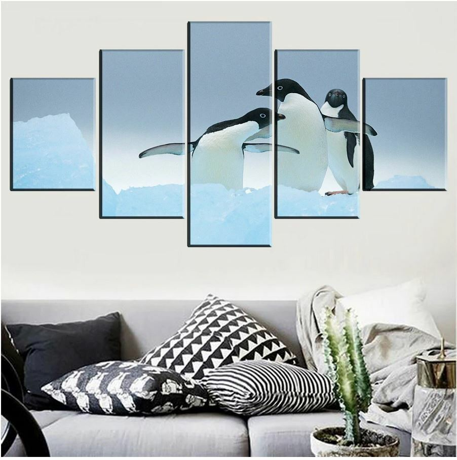 Penguin in Snow and Ice 5 Pcs Canvas Wall Room Home Decorating Poster