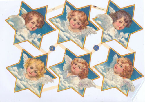 Chromo EF Découpis Ange étoile 7439 Embossed Illustrations Angel