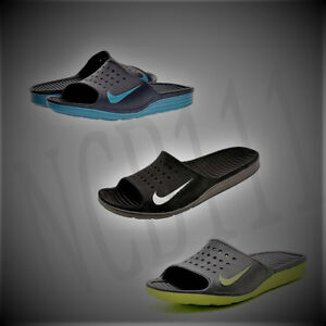 47ea5ae42d08 Image is loading New-NIKE-Solarsoft-Slides-386163-011-BLACK-Nike-