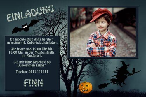 Einladungskarten Kindergeburtstag Einladungen Halloween Gruselparty Dein Foto