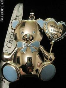 0c6ff4cb9 2016 BABY'S 1ST~FIRST CHRISTMAS~BOY~SILVER ORNAMENT~SWAROVSKI ...