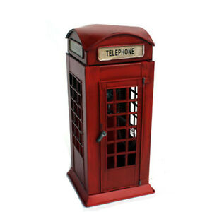 Image Is Loading Vintage British London Telephone Booth Antique Metal Phone