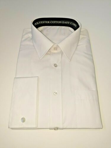 """DOUBLE CUFF WHITE SHIRT SIZE 17.5/"""" COLLAR BY DOUBLE TWO TALL FIT"""