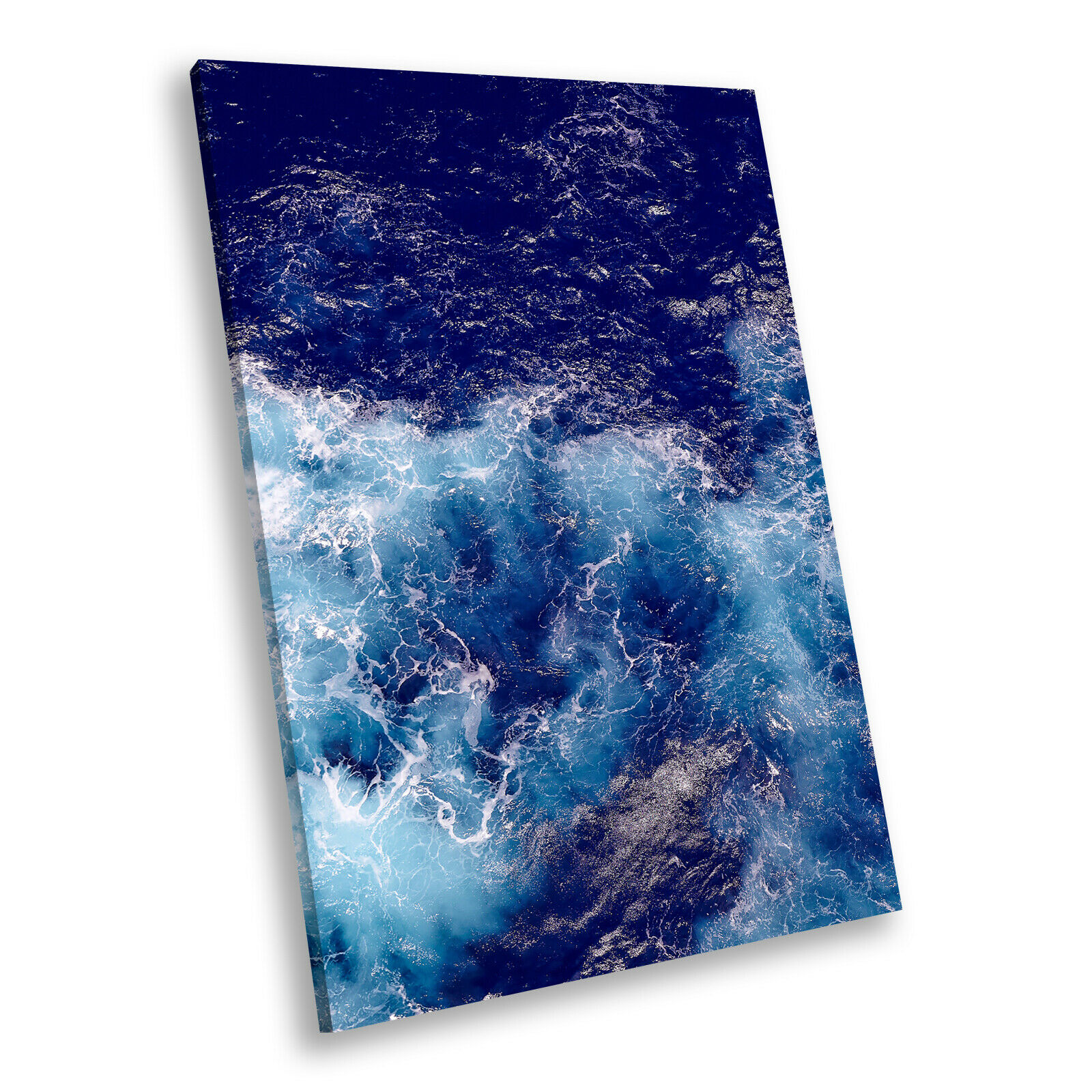 Blau Weiß Wave Ocean Nature Portrait Scenic Canvas Wall Art Large Picture Print