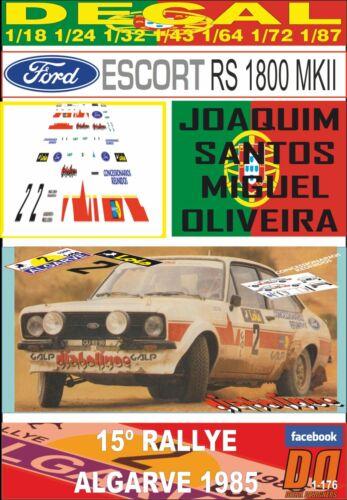 DECAL FORD ESCORT RS 1800 MKII JOAQUIM SANTOS RALLYE ALGARVE 1985 05