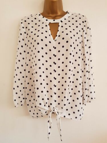 NEW C/&A 8-22 Polka Dot Spotted Black White Tie Knot Front Tunic Top Blouse