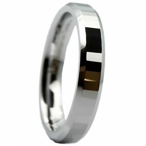 4mm-White-Tungsten-Carbide-Polished-Center-Tiled-Wedding-Band-Ring