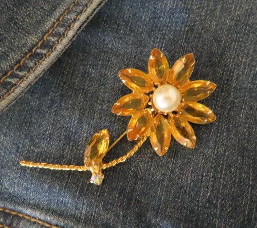 Juliana Vintage Rhinestone Brooch Pin Orange Flow… - image 1