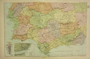 Map Of South West Spain.Details About 1912 Large Antique Map Spain Portugal South West Lisbon Gibraltar