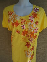 NEW  WOMENS JUST MY SIZE GRAPHIC TEE YELLOW WITH GLITZY FLOWERS  2X