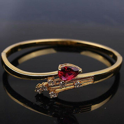 18k Yellow Gold Filled Oval Womens Bangle Inlaid Ruby Bracelet Jewelry