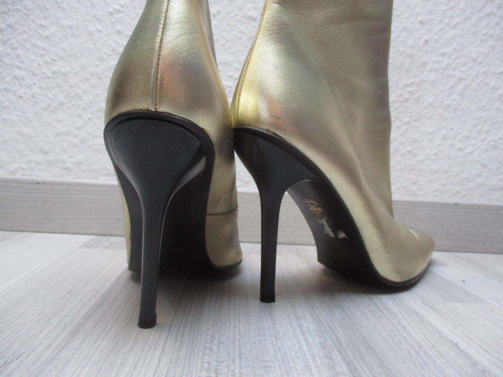 für Liebhaber: GOLDENE Buffalo Leder Stiefel 11 cm Absätze GETRAGEN