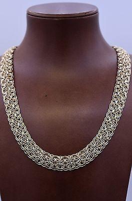 Technibond Interlocked Railroad Necklace 14K Yellow Gold Clad Sterling Silver