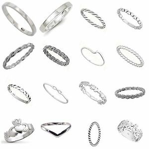 Image is loading Solid-Sterling-Silver-925-Mixed-Design-Rings-Sizes-