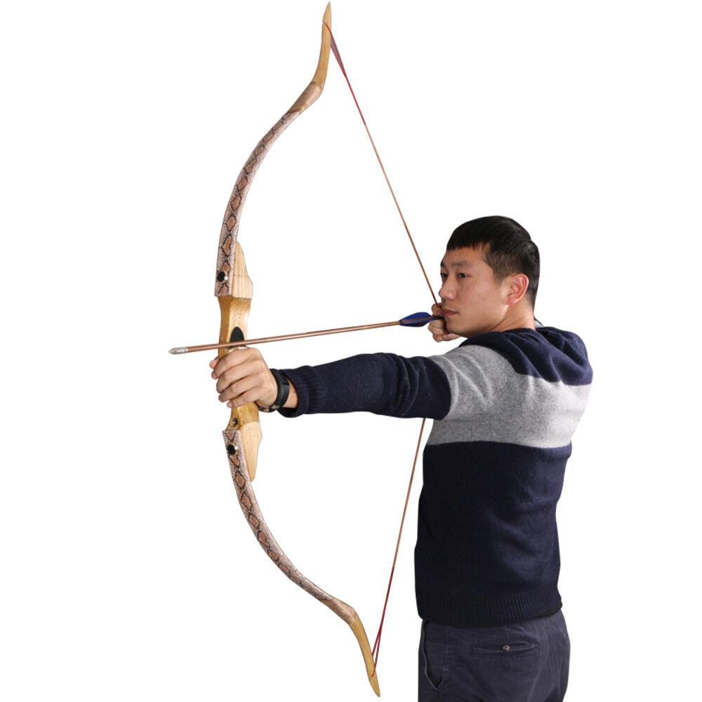 35-50lbs Right Hand Take Down Fiberglass Snakeskin Recurve Bow Hunting Archery