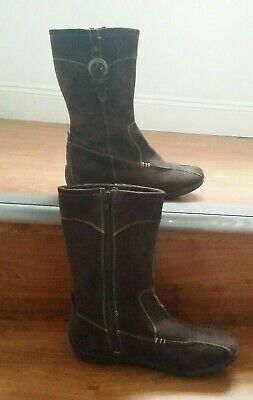 Hush Puppies Girls Brown Leather Boots Knee High Faux Fur Trim Riding Winter