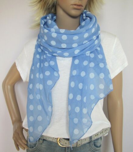 Tuch Schal Cotton Seide Punkte Polka Dots himmelblau made in Italy