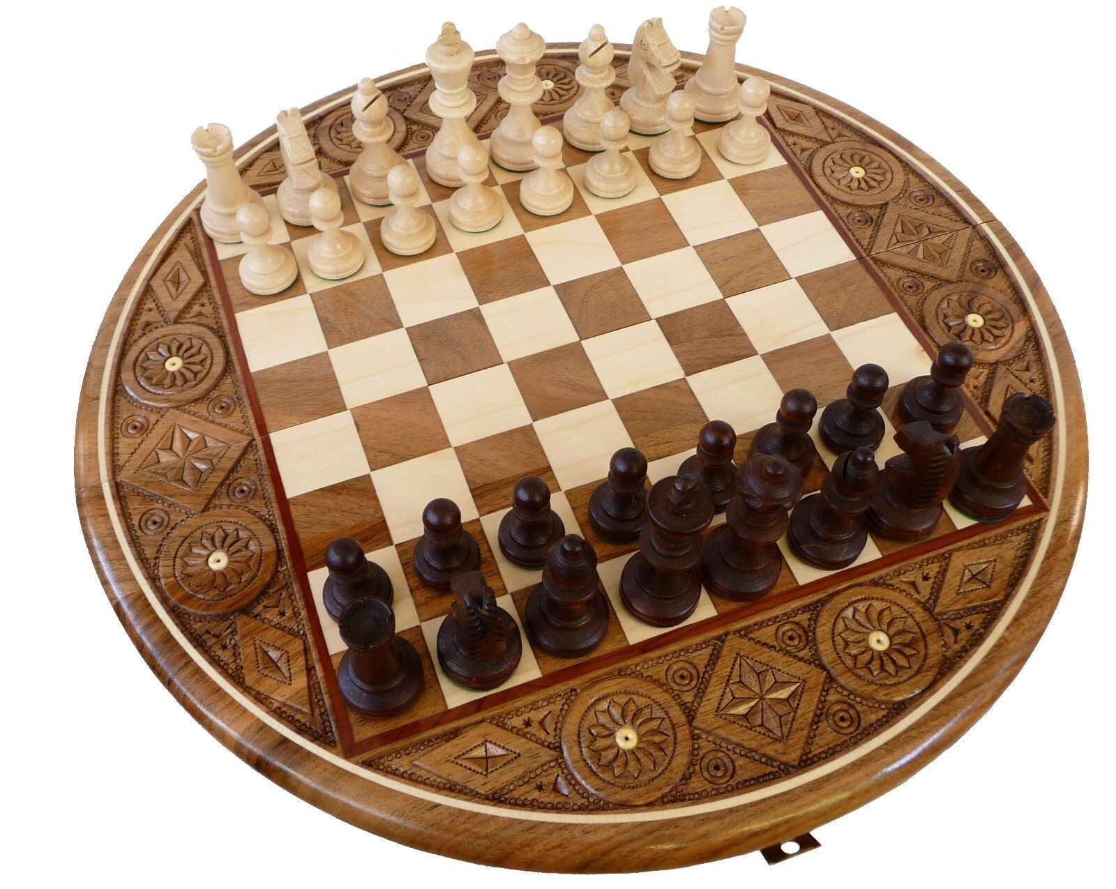 Chess, Noble Chess Rubin 35 cm KH 65 mm inkrustiert, Carved Wood Hand