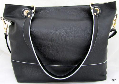 NYC by Perlina Faux Leather Black Shoulder Handbag Purse Scarf Wristlet Shopper