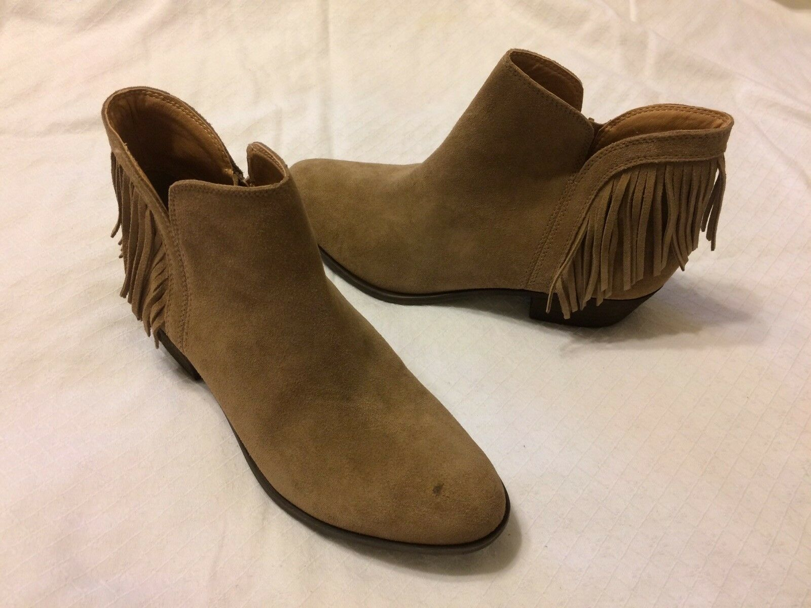 LUCKY BRAND BENJI FRINGE ANKLE BOOTS TAN BROWN SUEDE WOMENS SIZE 8.5 M NWOB